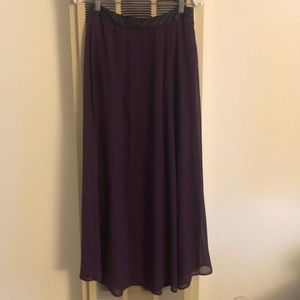 Purple long skirt w/ faux leather black waist band